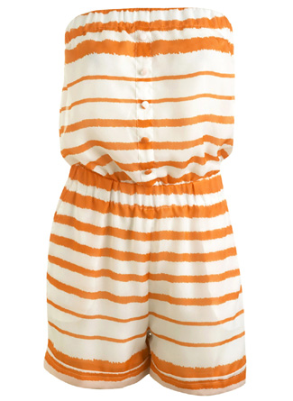 Orange-Stripped Romper for the Beach Babe