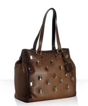 Brown leather jeweled bag