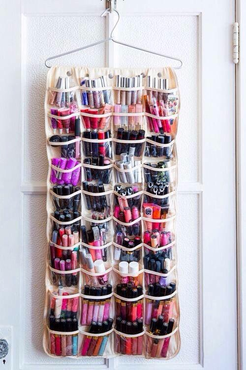 beauty products and makeup organizer