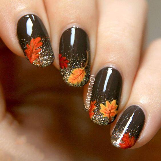 glittery-leaves