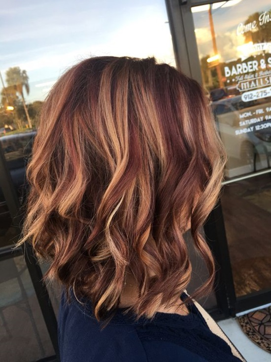 rusk copper base with balayage highlights