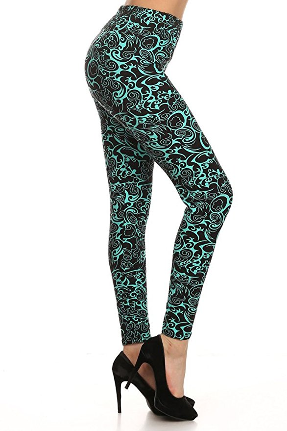 teal and black printed leggings