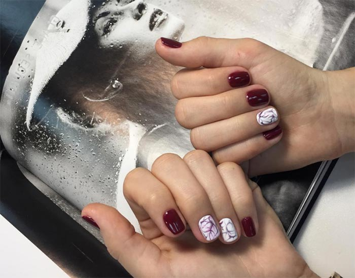 red and white nail designs for short nails