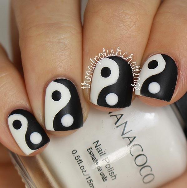 yin yang nail designs for short nails