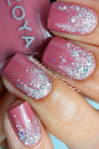 dark pink with sparkles nails