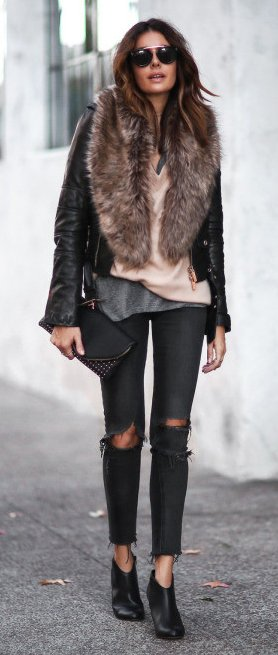 faux fur coat and skinny jeans