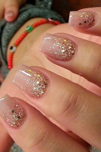 gold and pink nail designs