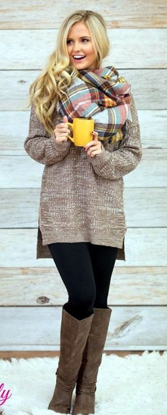 oversized sweater and scarf
