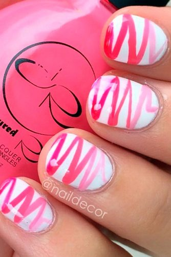 pink and white zig zag nails
