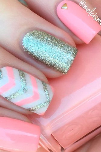 white and pink nail designs