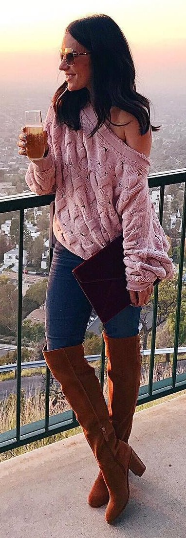 pink slouchy sweater