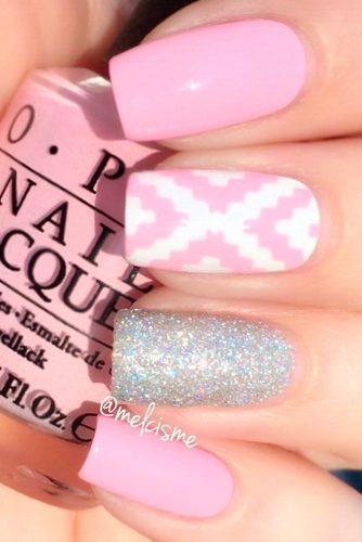 printed pink nails