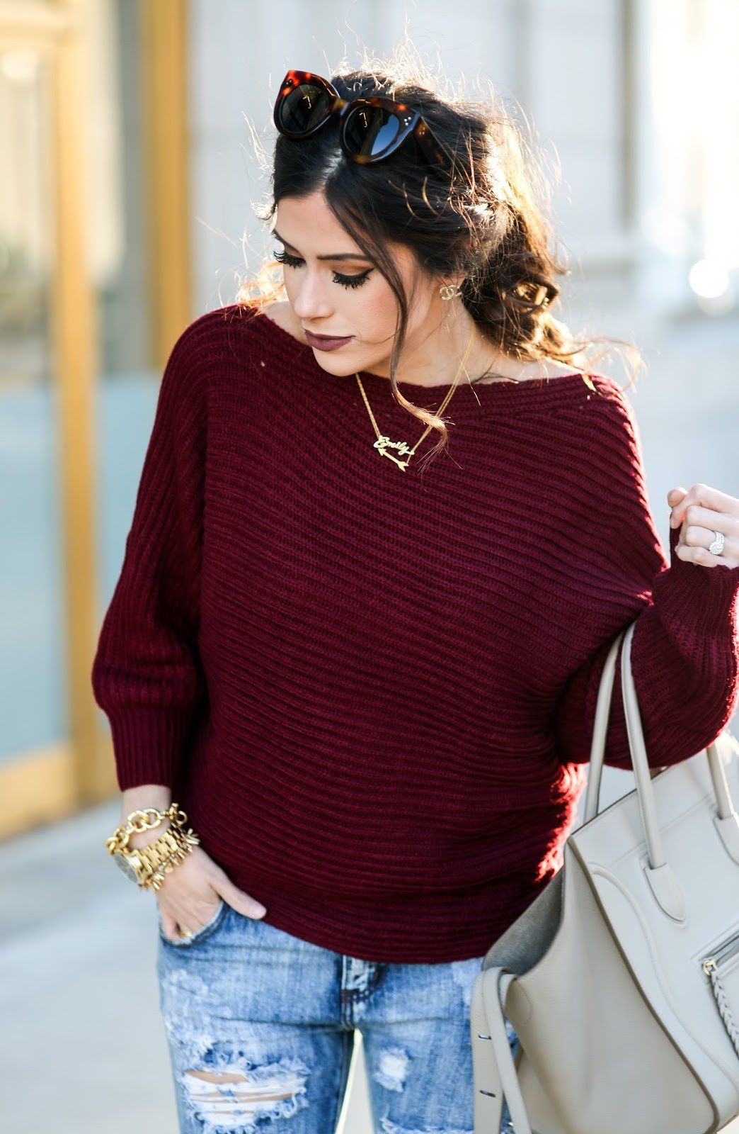 red slouchy sweater