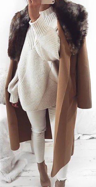 slouchy sweater and long coat