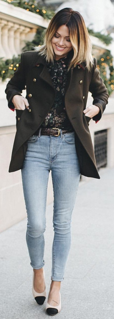 tailored jacket and skinny jeans