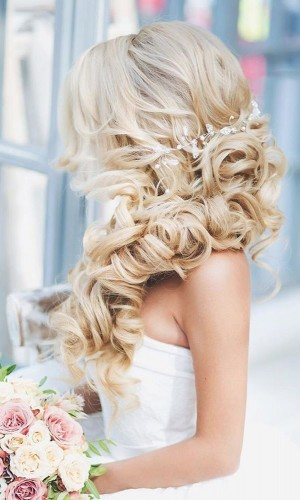 blonde fishtail wedding hair