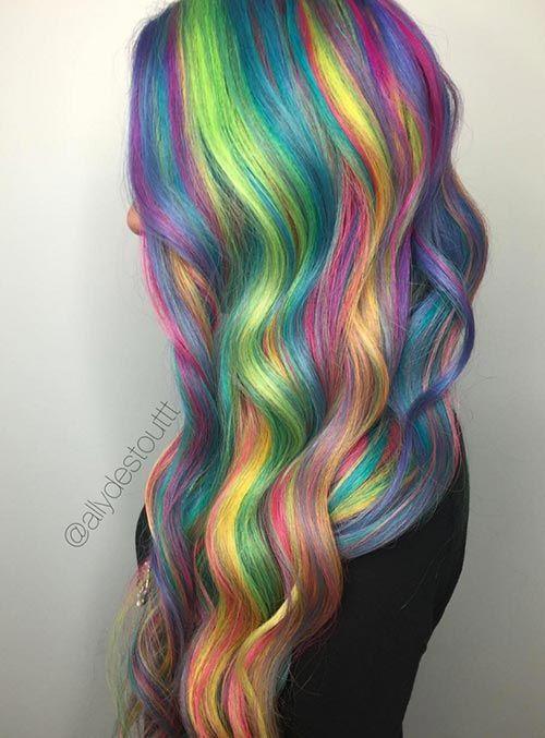 cascading rainbow hair
