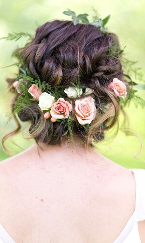 flower chignon wedding hair