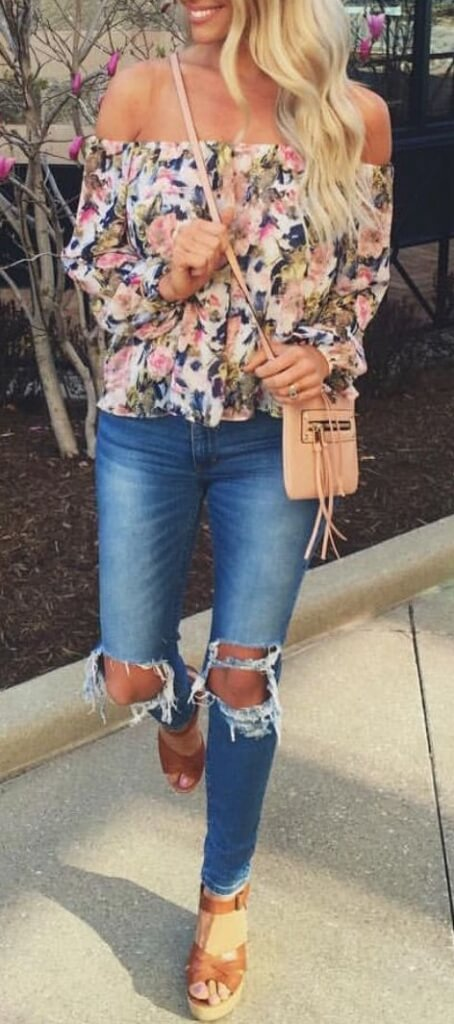 flower top and ripped jeans