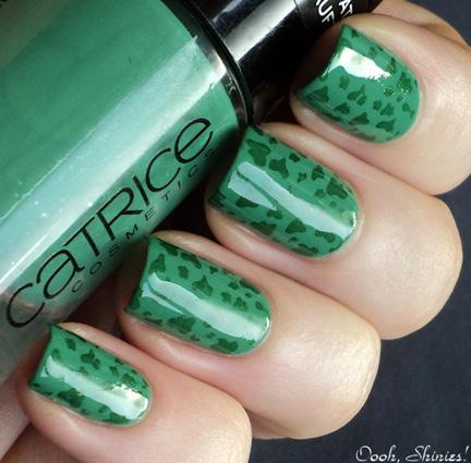 glossy green nails