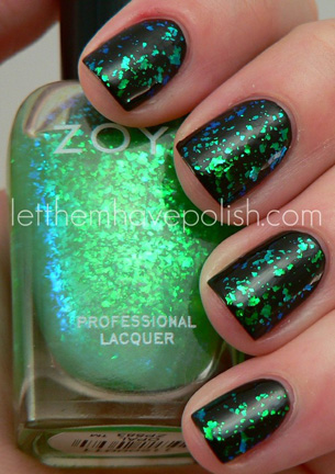 green and black nails