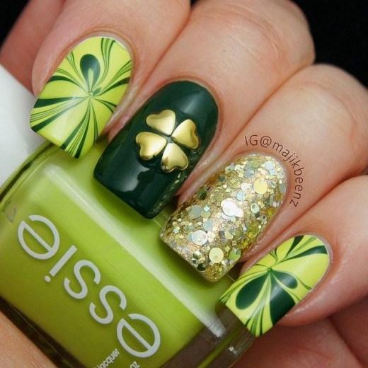 green irish nail design