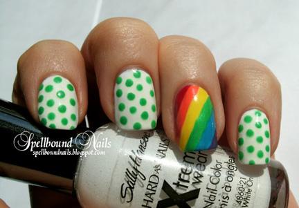 green polka dots rainbow nails