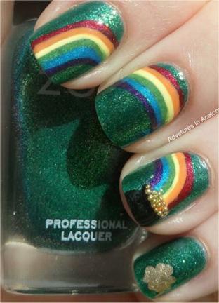 green rainbow nails