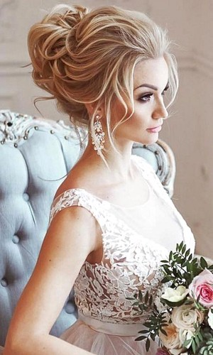 high chignon wedding hair