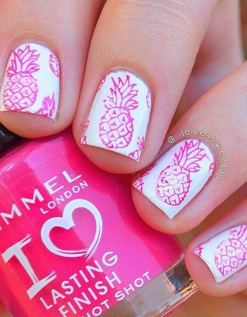 pink pineapple nails