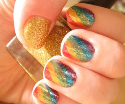 pot of gold rainbow nails
