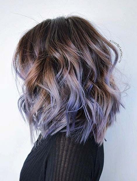 purple and grey short hair