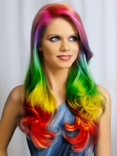 rainbow hair front view