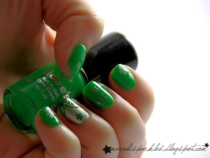 stamped green nails