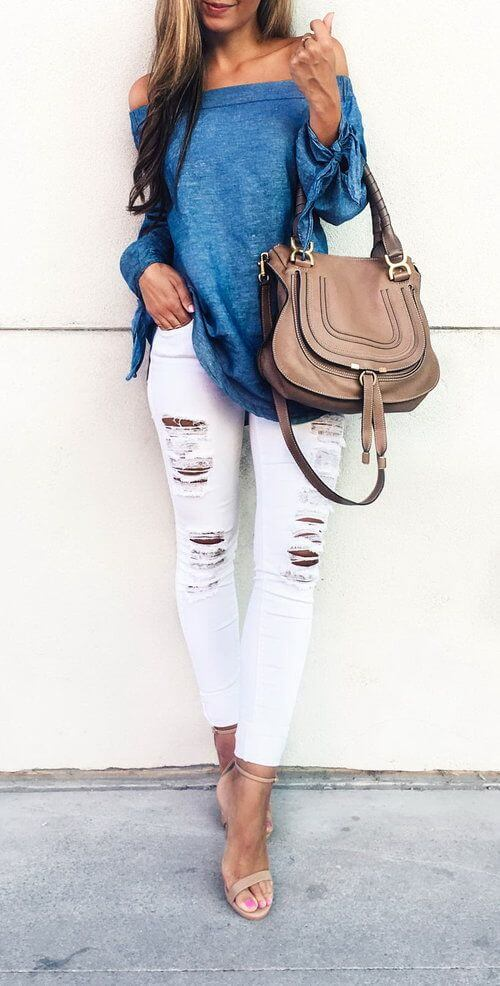 white jeans slouchy top