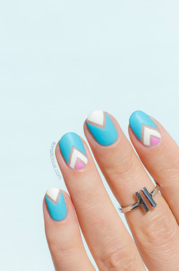 blue and pink chevron nails