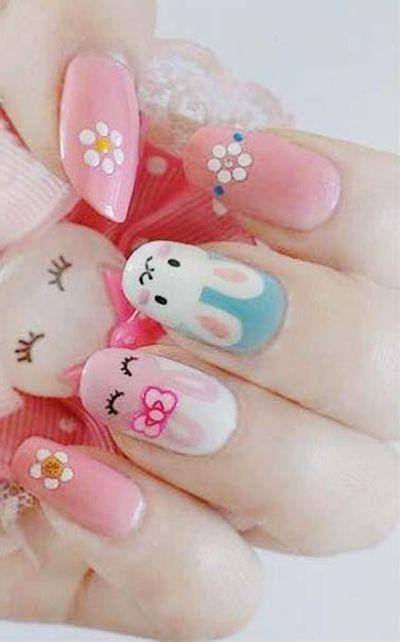 bunny nail design