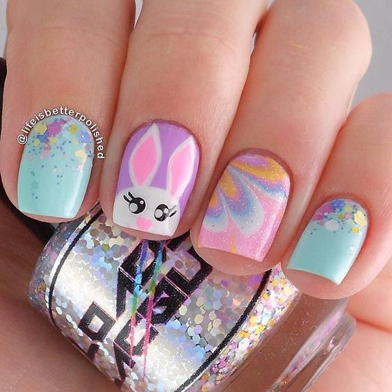 colorful bunny nails