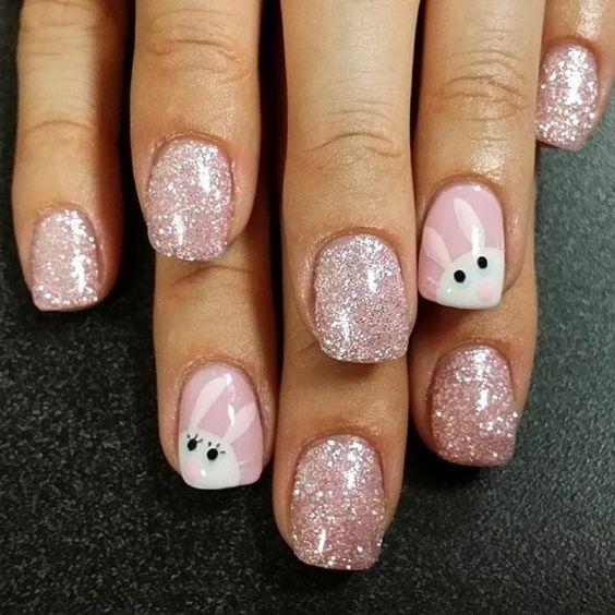 glittery bunny nails