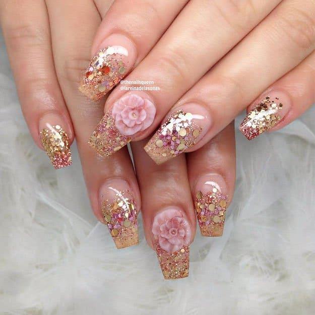 glittery rose nails