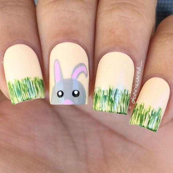 grassy bunny nails