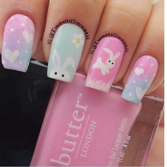 pastel bunny nails