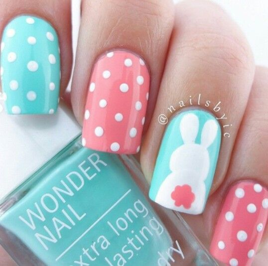 pink and blue bunny nails