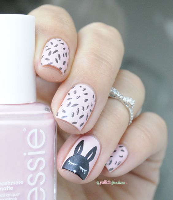 pink and matte black bunny nails