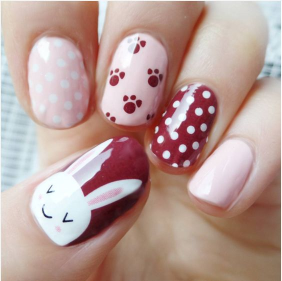 pink and red bunny nails
