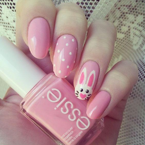 pink bunny nails with polka dots