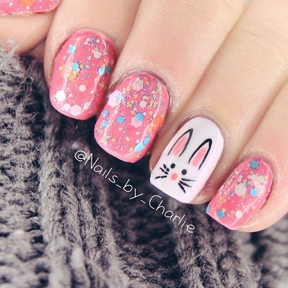pink glitter bunny nails
