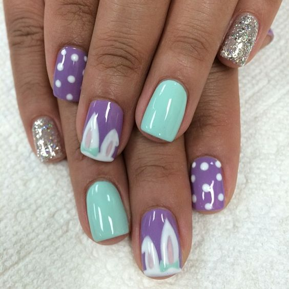 purple and blue bunny nails