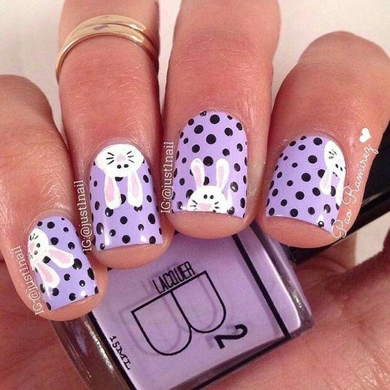 purple polka dot bunny nails