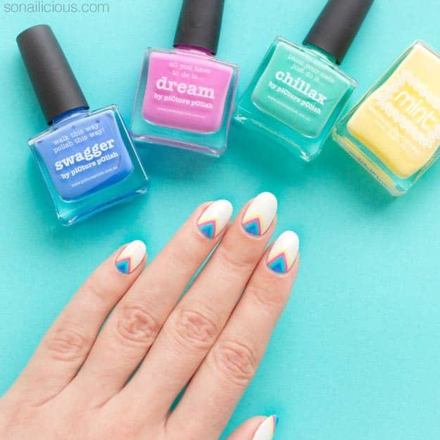 rainbow chevron spring nail colors